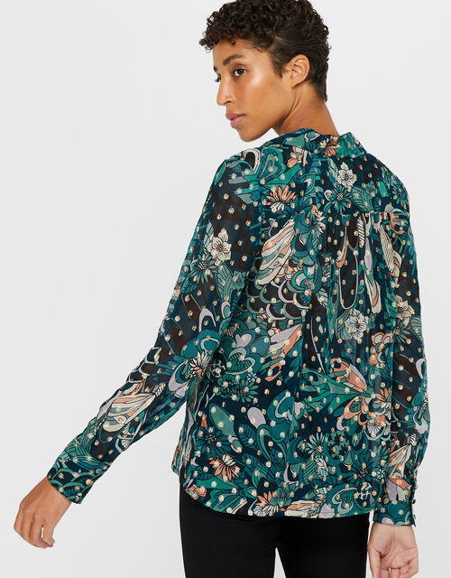 Zoe Floral Metallic Shirt, Teal, large