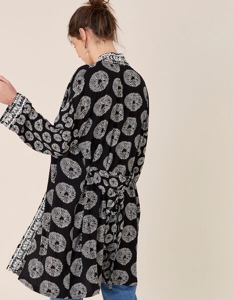 ARTISAN STUDIO Circle Print Kimono Black, Black (BLACK), large
