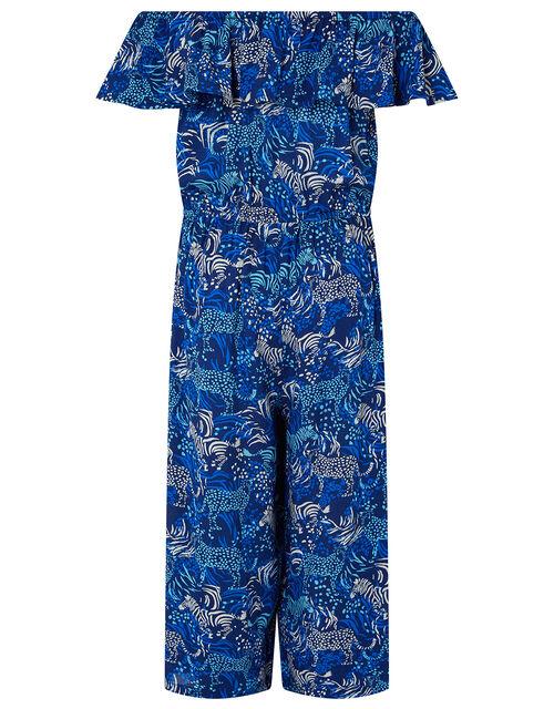 Sadie Zebra Casual Jumpsuit in LENZING™ ECOVERO™, Blue (BLUE), large