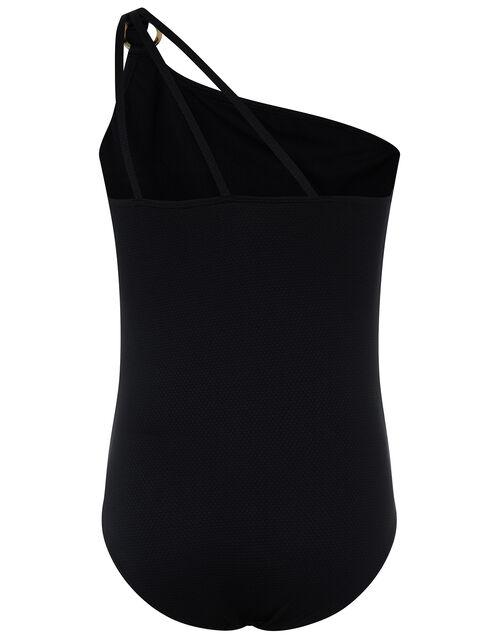 Rhia Ring Detail One-Shoulder Swimsuit, Black (BLACK), large