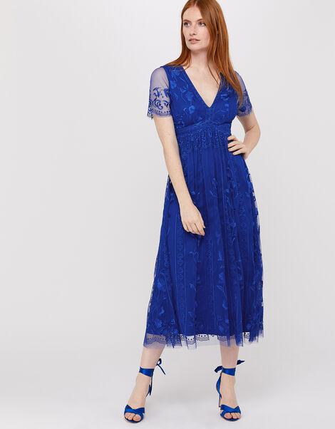 Valentina Embroidered Midi Dress Blue, Blue (COBALT), large