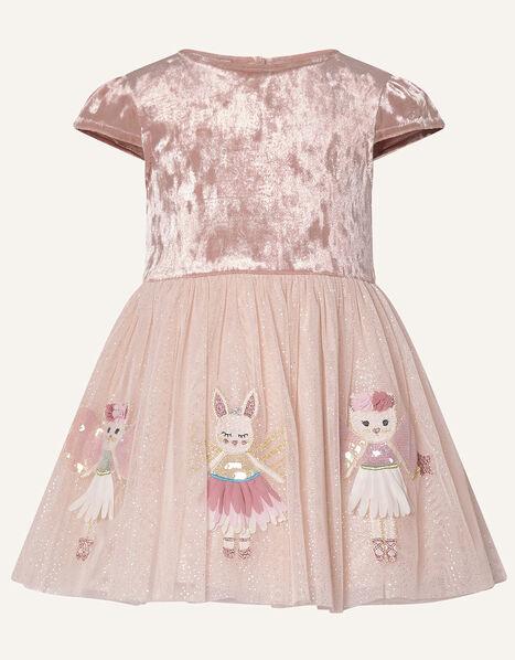 Baby Velvet Mice Applique Dress Pink, Pink (PINK), large