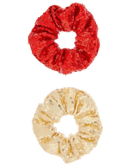 Sequin Hair Scrunchie Set, , large