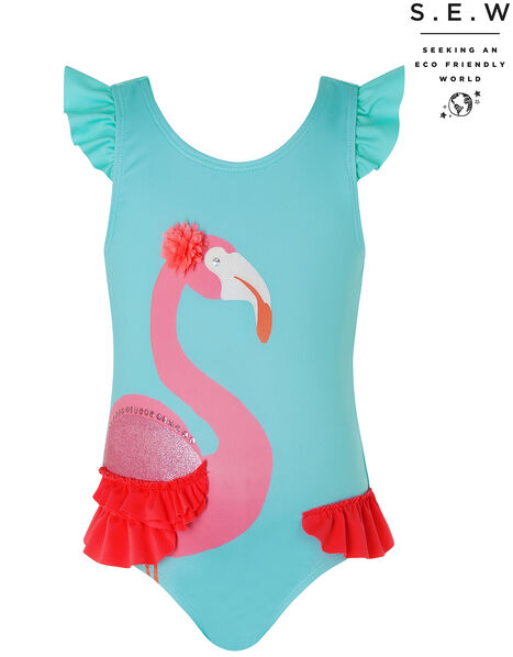 Baby Cora Flamingo Swimsuit with Recycled Polyester Blue, Blue (TURQUOISE), large