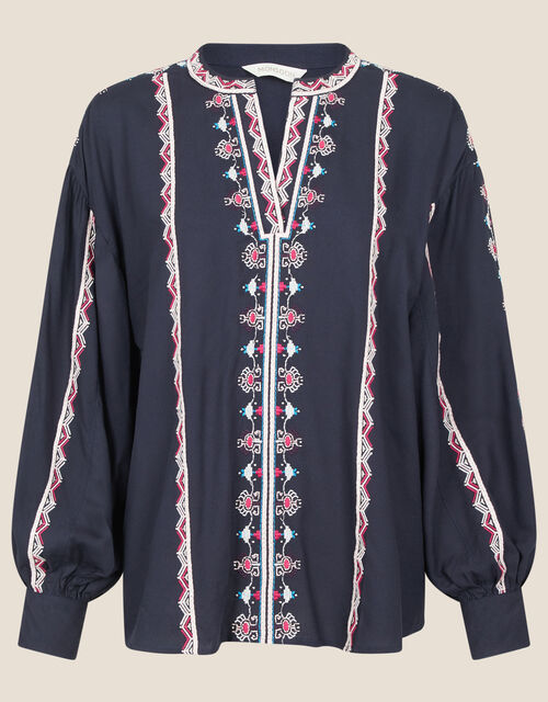 Stripe Embroidered Blouse in LENZING™ ECOVERO™, Blue (NAVY), large