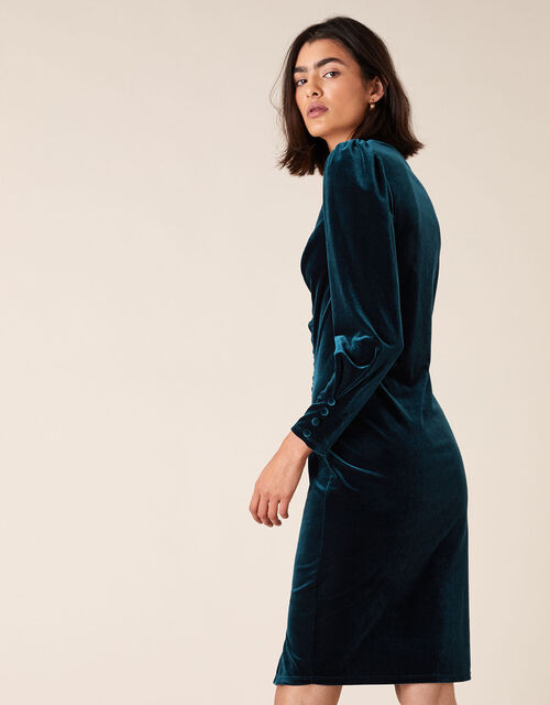 Emily Stretch Velvet Shift Dress, Teal (TEAL), large