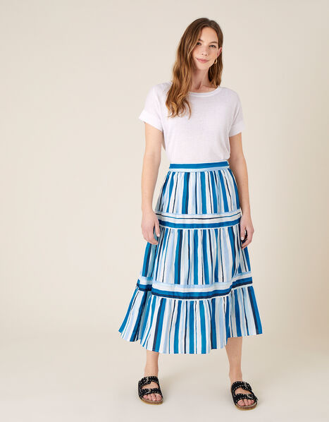 Stripe Print Tiered Skirt Blue, Blue (BLUE), large