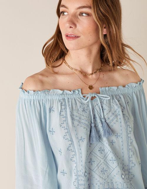 Embroidered Off-the-Shoulder Top, Blue (DENIM BLUE), large