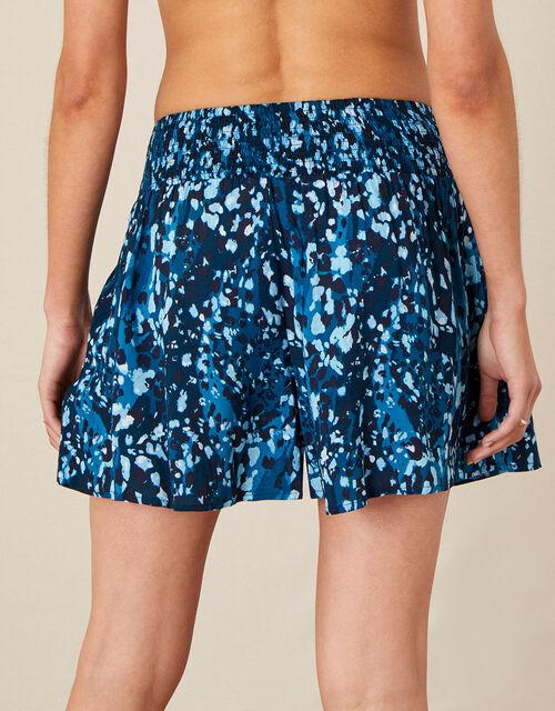 Animal Print Beach Shorts, Blue (BLUE), large