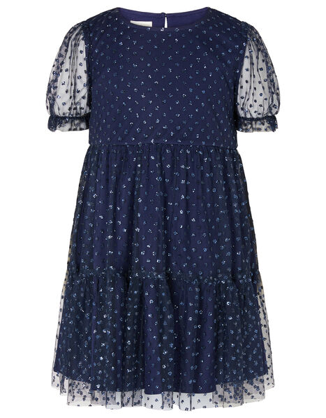 Glitter Spot Tiered Dress Blue, Blue (NAVY), large