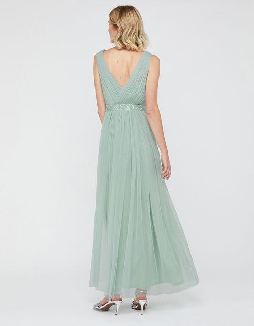 Elyse Sequin Waist Maxi Dress, Green (GREEN), large