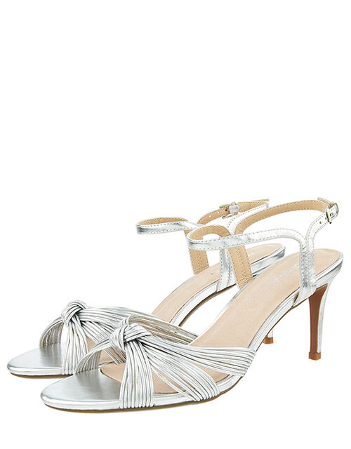 Kitty Knot Heeled Sandals, Silver (SILVER), large