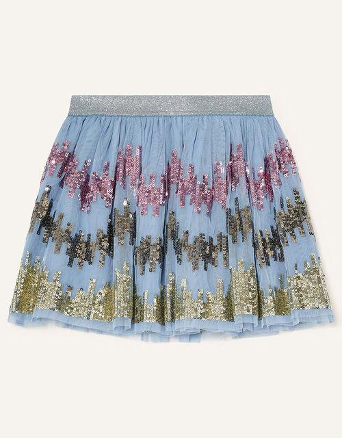 Sequin Zig-Zag Skirt, Blue (BLUE), large