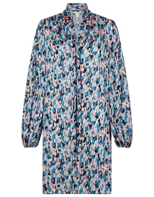 Suzie Colourful Sequin Smock Dress with Recyled Polyester, Blue (BLUE), large