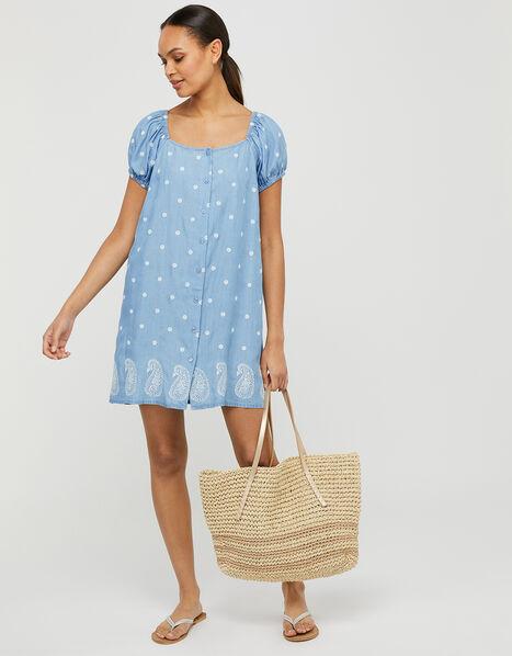 Alice Embroidered Sundress in LENZING™ TENCEL™ Blue, Blue (BLUE), large