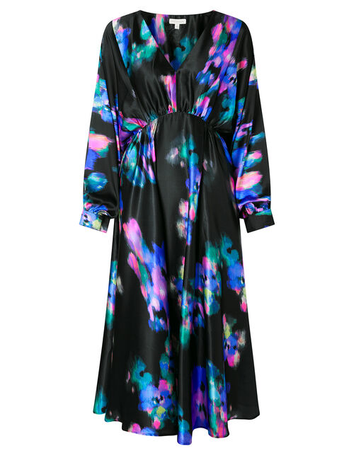 Blur Print Satin Midi Dress, Black (BLACK), large