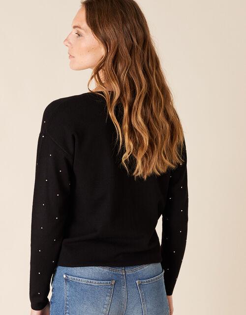Hotfix Gem Knit Cardigan with Sustainable Viscose, Black (BLACK), large