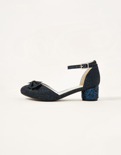 Glitter Bow Heel Shoes, Blue (NAVY), large