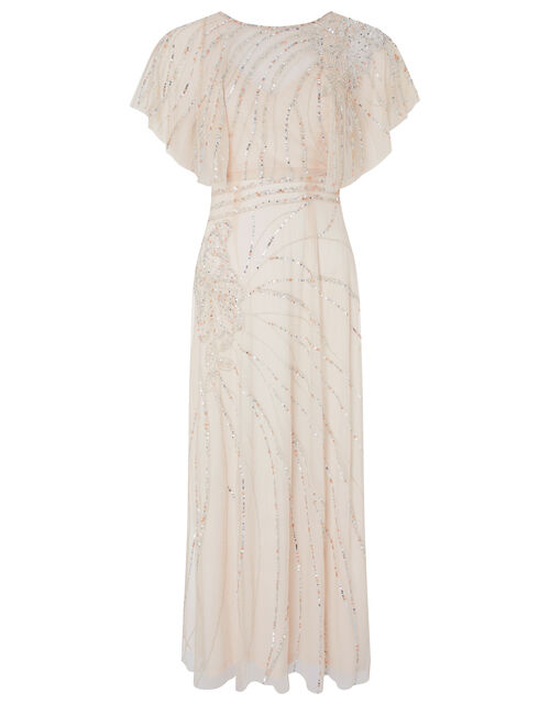 Florence Embellished Flutter Sleeve Maxi Dress, Nude (NUDE), large