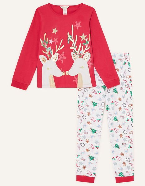 Christmas Reindeer Pyjama Set Red, Red (RED), large