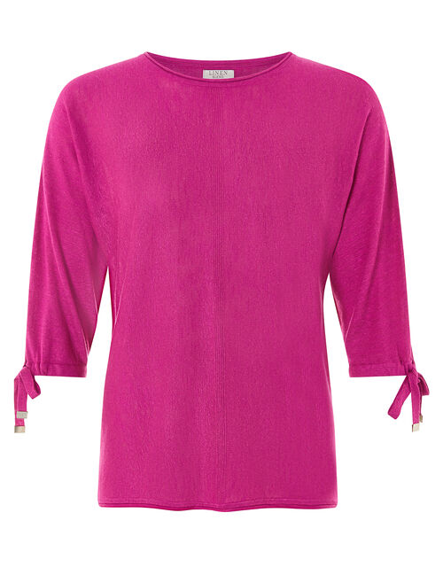 Tie Sleeve Knit Jumper in Linen Blend, Pink (PINK), large