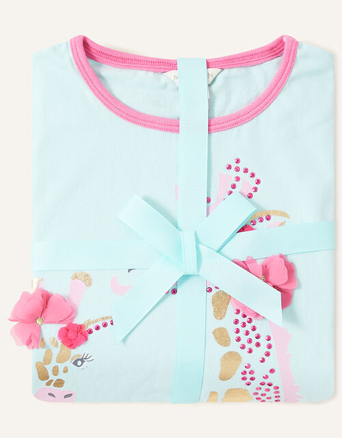 Gwyneth Giraffe Pyjama Set, Blue (AQUA), large