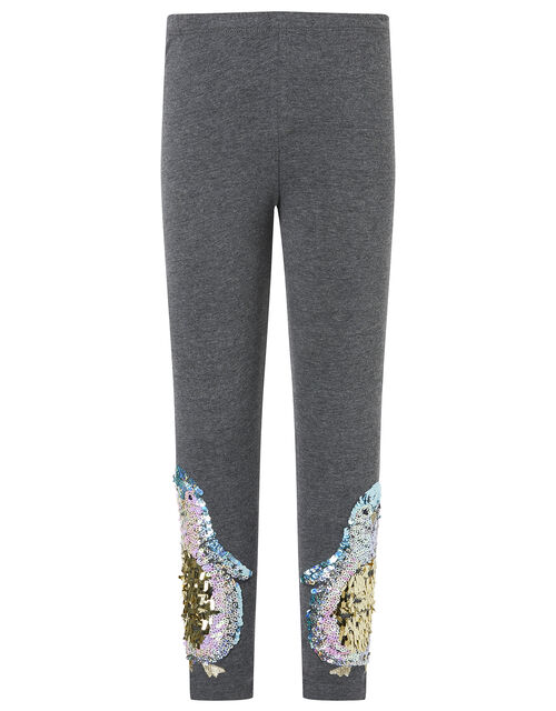 XMAS Sequin Penguin Leggings with Organic Cotton, Grey (CHARCOAL), large