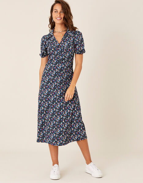 Floral Print Jersey Midi Dress Black, Black (BLACK), large