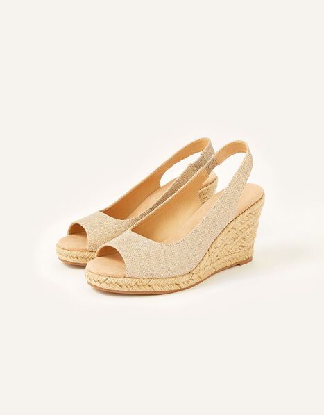 Sandy Shimmer Peep Toe Wedges Gold, Gold (GOLD), large