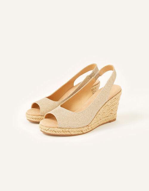 Sandy Shimmer Peep Toe Wedges, Gold (GOLD), large