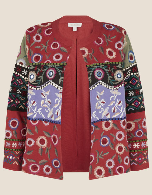 Embroidered Patchwork Jacket, Red (RED), large