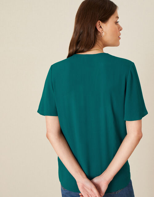 Tie Front Frill Sleeve Top, Green (GREEN), large