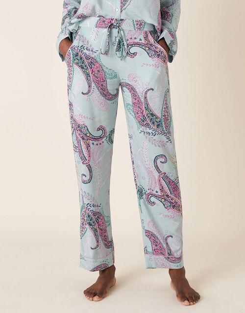 Paisley Print Pyjama Bottoms, Blue (BLUE), large