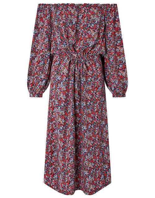 Ivy Ditsy Floral Bardot Midi Dress, Red (RED), large