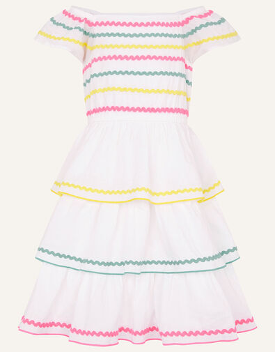 Fiesta Ricrac Dress in Organic Cotton Ivory, Ivory (IVORY), large