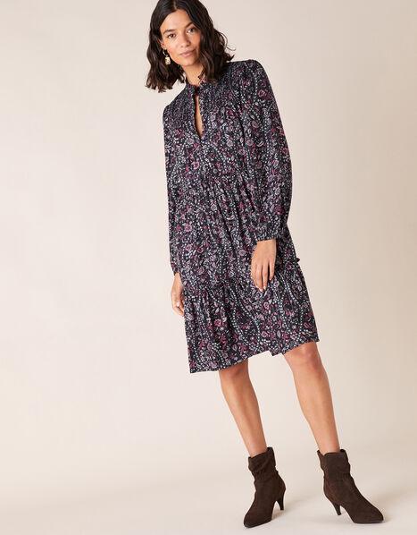 Floral Print Short Dress in LENZING™ ECOVERO™ Blue, Blue (NAVY), large
