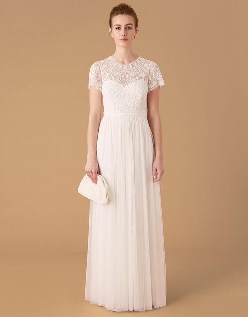 Olive Floral Embellished Tulle Bridal Dress, Ivory (IVORY), large
