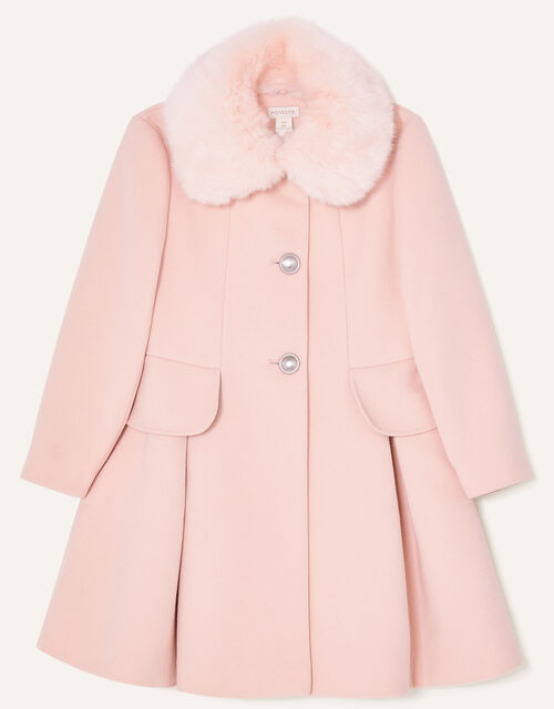 Frill Bow Back Coat, Pink (PALE PINK), large
