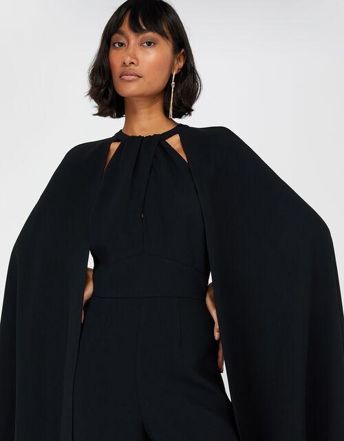 Kimora Cape Wide Leg Jumpsuit, Black (BLACK), large