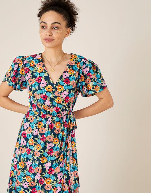 Tallulah Floral Jersey Wrap Dress, Teal (TEAL), large