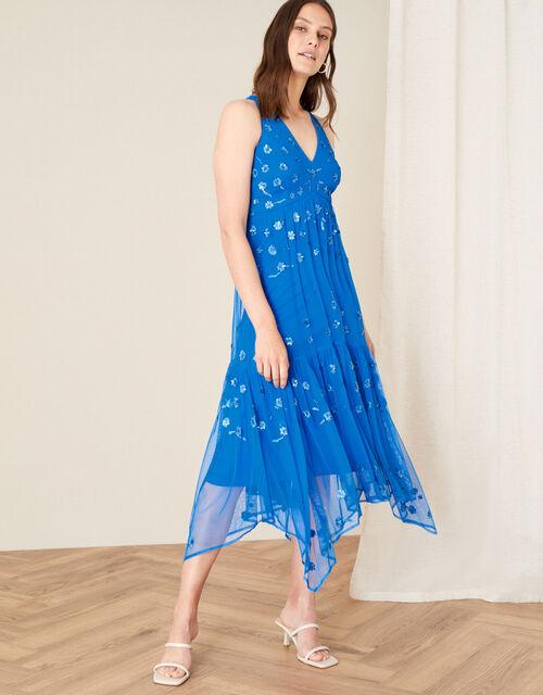 Carmela Sequin Hanky Hem Dress, Blue (BLUE), large