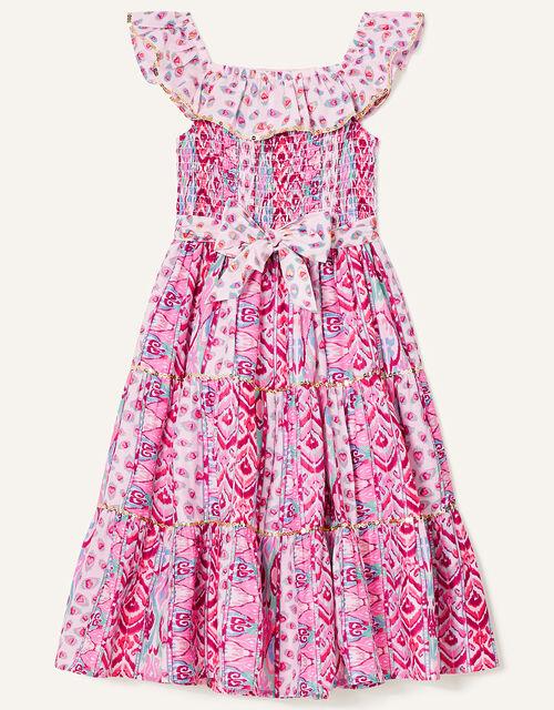Aztec Shirred Frill Dress, Pink (PINK), large