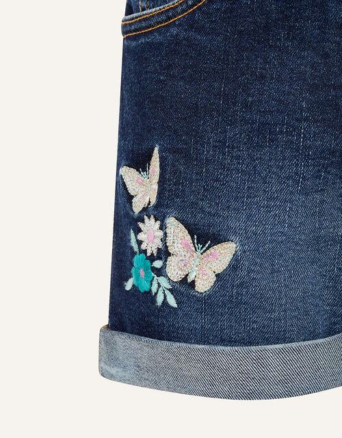 Butterfly Denim Shorts, Blue (BLUE), large