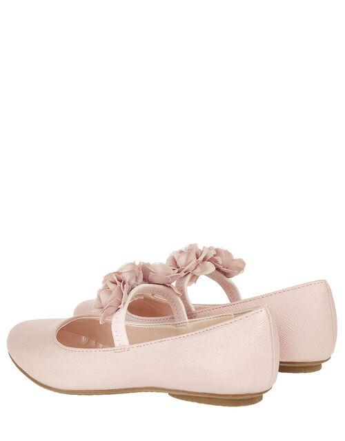 Dora Corsage Shimmer Ballet Flats, Pink (PALE PINK), large