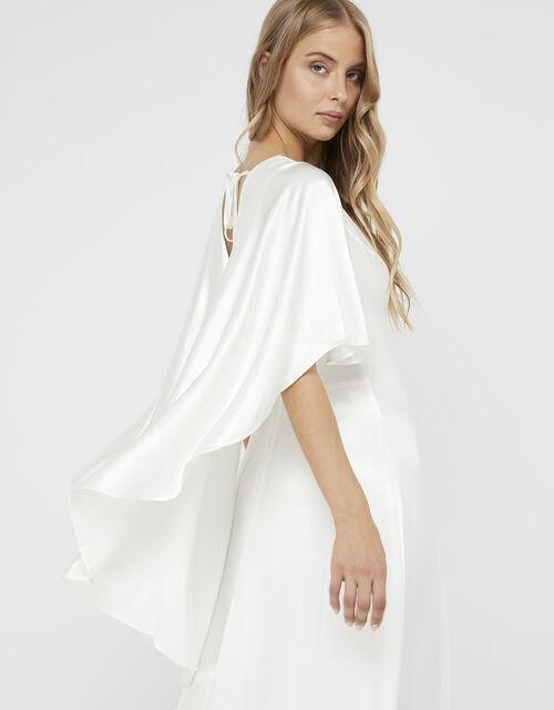 Vera Bridal Satin Cape Maxi Dress, Ivory (IVORY), large