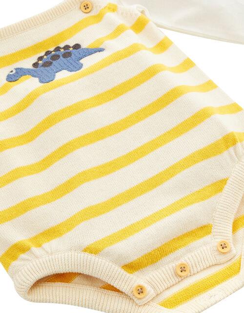 Newborn Baby Dinosaur Knitted Romper Set, Yellow (MUSTARD), large