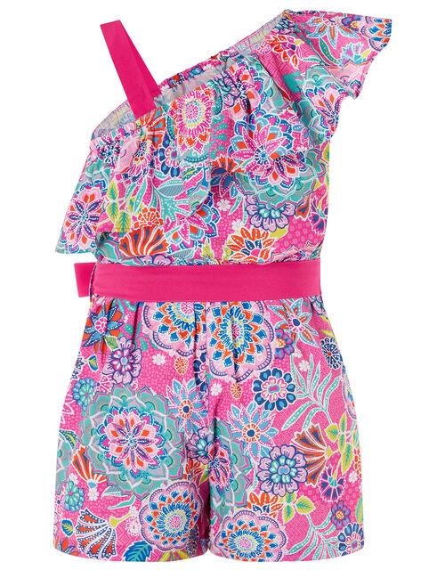 Inca One-Shoulder Floral Playsuit in Recycled Polyester, Pink (PINK), large