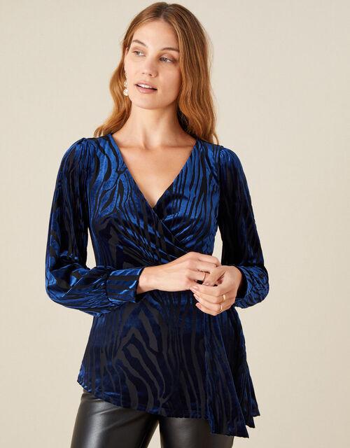 Delia Devore Long Sleeve Wrap Top, Blue (NAVY), large