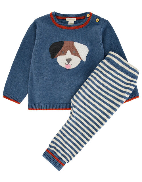 Newborn Baby Dog Set in Organic Cotton, Blue (BLUE), large