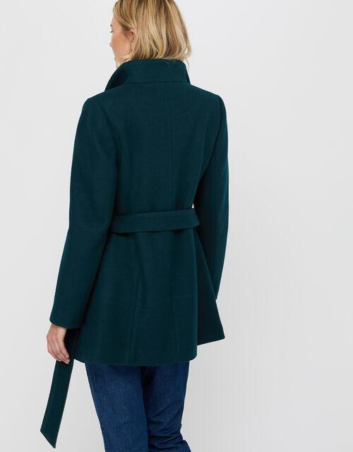 Rita Wrap Collar Short Coat, Teal, large